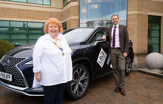 Tracey Pickin (National Association of Tangent Clubs) with Adrian Clack (L&Q Estates)
